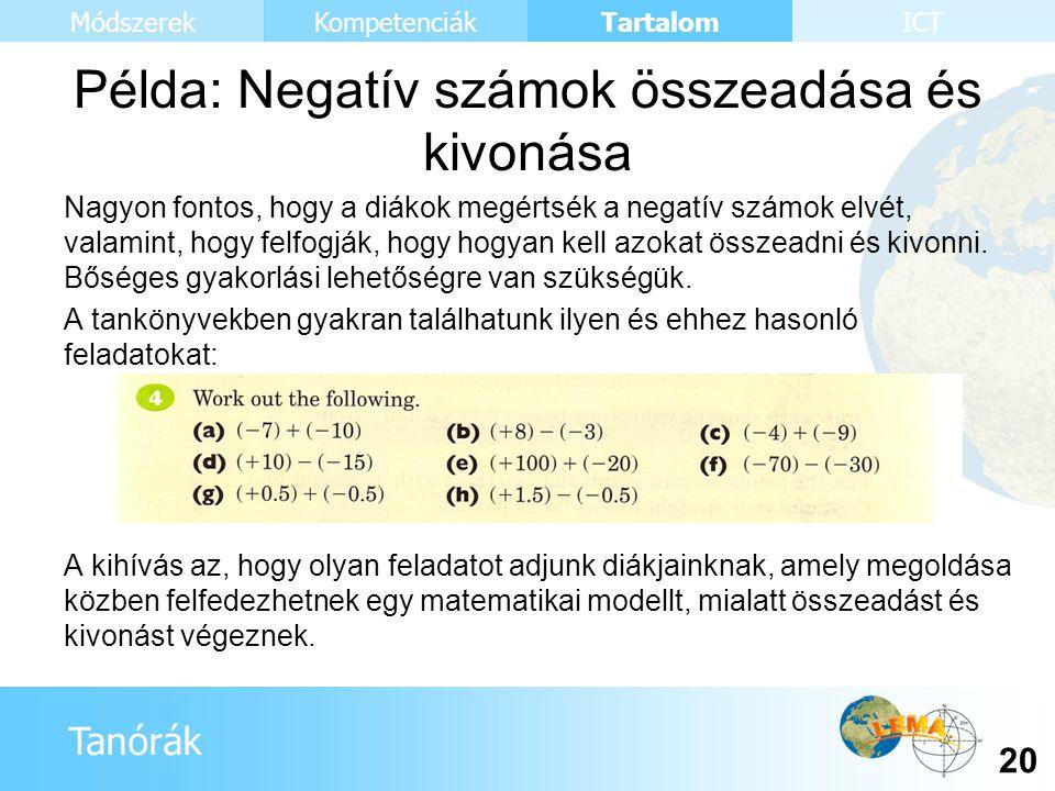 Tanórák Tartalom 20 KompetenciákMódszerekICT Nagyon fontos, hogy a diákok megértsék a negatív számok elvét, valamint, hogy felfogják, hogy hogyan kell