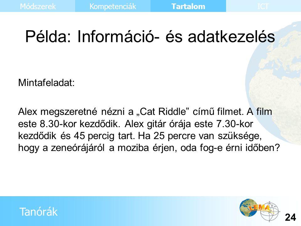 """Tanórák Tartalom 24 KompetenciákMódszerekICT Példa: Információ- és adatkezelés Mintafeladat: Alex megszeretné nézni a """"Cat Riddle"""" című filmet. A film"""
