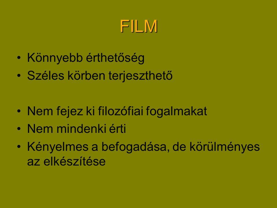 FILM •Könnyebb érthetőség •Széles körben terjeszthető •Nem fejez ki filozófiai fogalmakat •Nem mindenki érti •Kényelmes a befogadása, de körülményes az elkészítése
