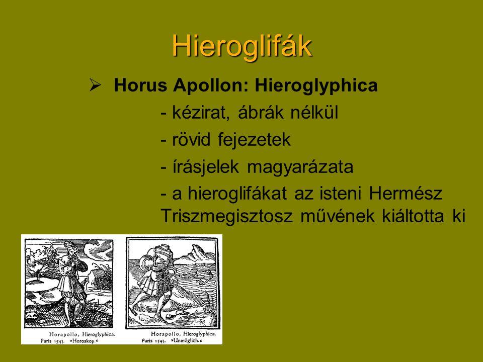Hieroglifák  Horus Apollon: Hieroglyphica - kézirat, ábrák nélkül - rövid fejezetek - írásjelek magyarázata - a hieroglifákat az isteni Hermész Triszmegisztosz művének kiáltotta ki