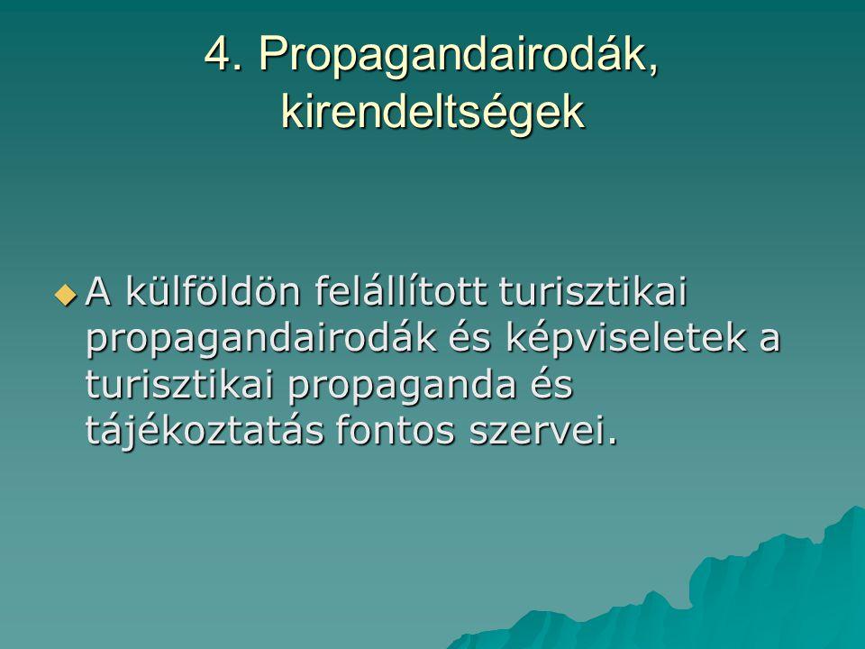 4. Propagandairodák, kirendeltségek  A külföldön felállított turisztikai propagandairodák és képviseletek a turisztikai propaganda és tájékoztatás fo