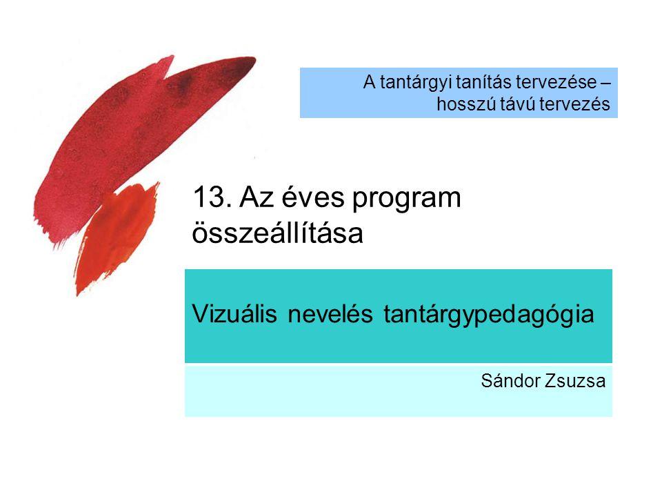 Vizuális nevelés tantárgypedagógia Sándor Zsuzsa A tantárgyi tanítás tervezése – hosszú távú tervezés 13. Az éves program összeállítása