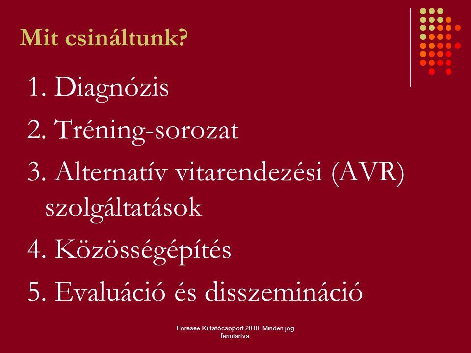 Mit csináltunk? 1. Diagnózis 2. Tréning-sorozat 3. Alternatív vitarendezési (AVR) szolgáltatások 4. Közösségépítés 5. Evaluáció és disszemináció Fores