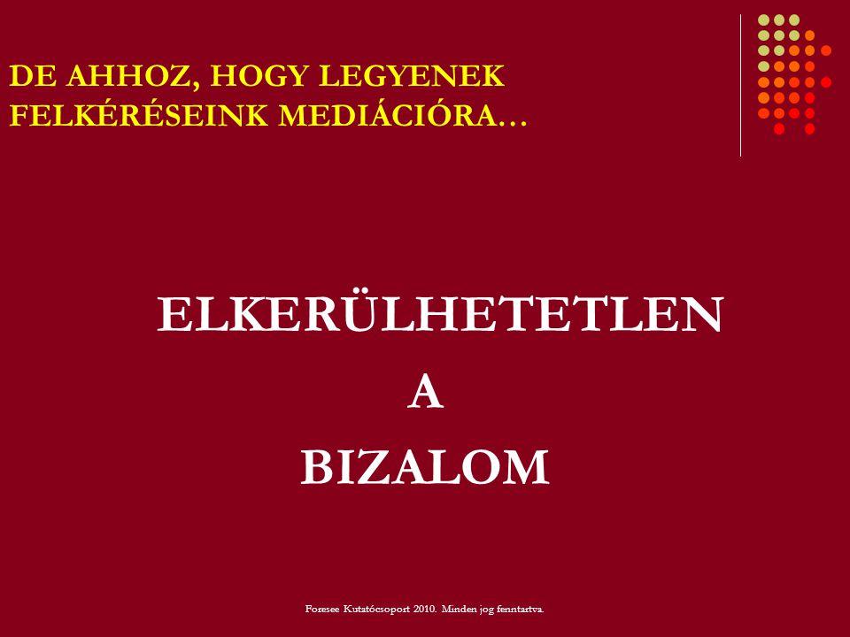 DE AHHOZ, HOGY LEGYENEK FELKÉRÉSEINK MEDIÁCIÓRA… ELKERÜLHETETLEN A BIZALOM Foresee Kutatócsoport 2010. Minden jog fenntartva.