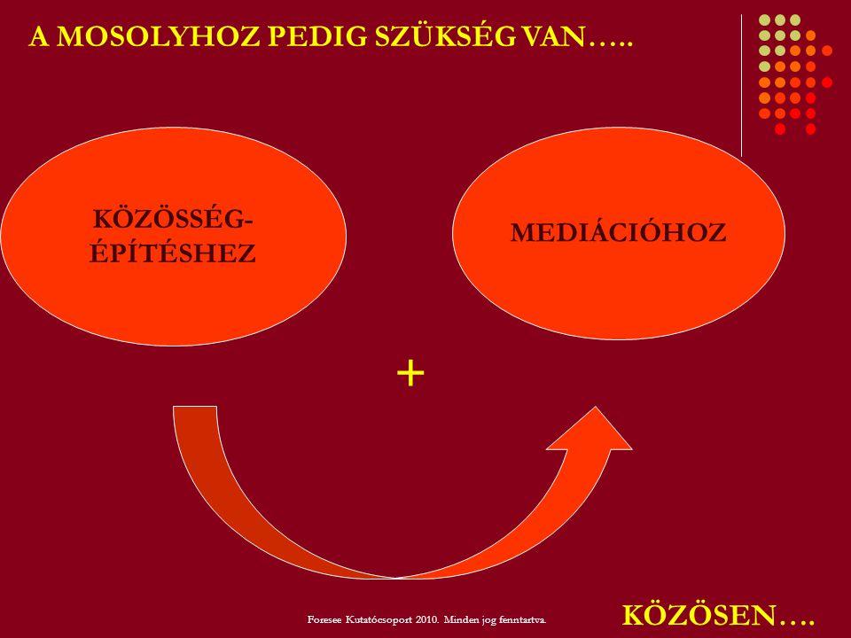 KÖZÖSSÉG- ÉPÍTÉSHEZ MEDIÁCIÓHOZ A MOSOLYHOZ PEDIG SZÜKSÉG VAN….. KÖZÖSEN…. + Foresee Kutatócsoport 2010. Minden jog fenntartva.
