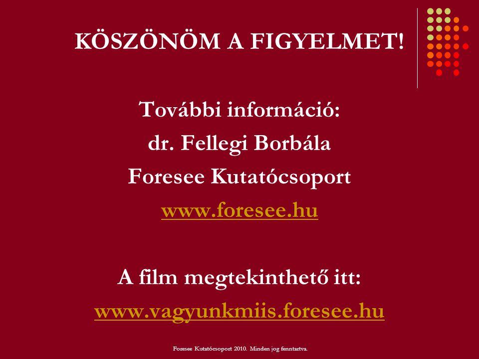 KÖSZÖNÖM A FIGYELMET! További információ: dr. Fellegi Borbála Foresee Kutatócsoport www.foresee.hu A film megtekinthető itt: www.vagyunkmiis.foresee.h