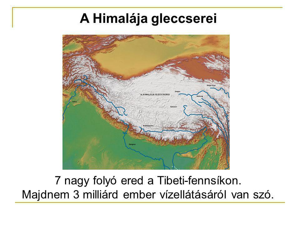 A Himalája gleccserei 7 nagy folyó ered a Tibeti-fennsíkon. Majdnem 3 milliárd ember vízellátásáról van szó.