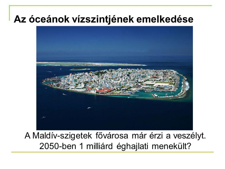Az óceánok vízszintjének emelkedése A Maldív-szigetek fővárosa már érzi a veszélyt. 2050-ben 1 milliárd éghajlati menekült?