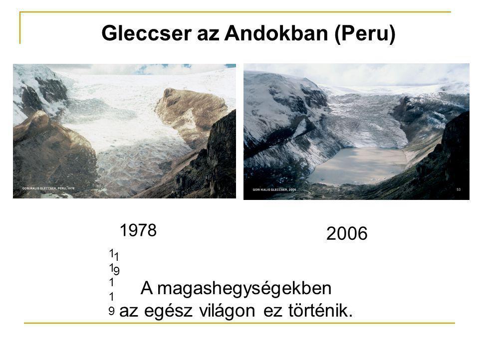 Gleccser az Andokban (Peru) A magashegységekben az egész világon ez történik. 1111911119 1919 1978 2006