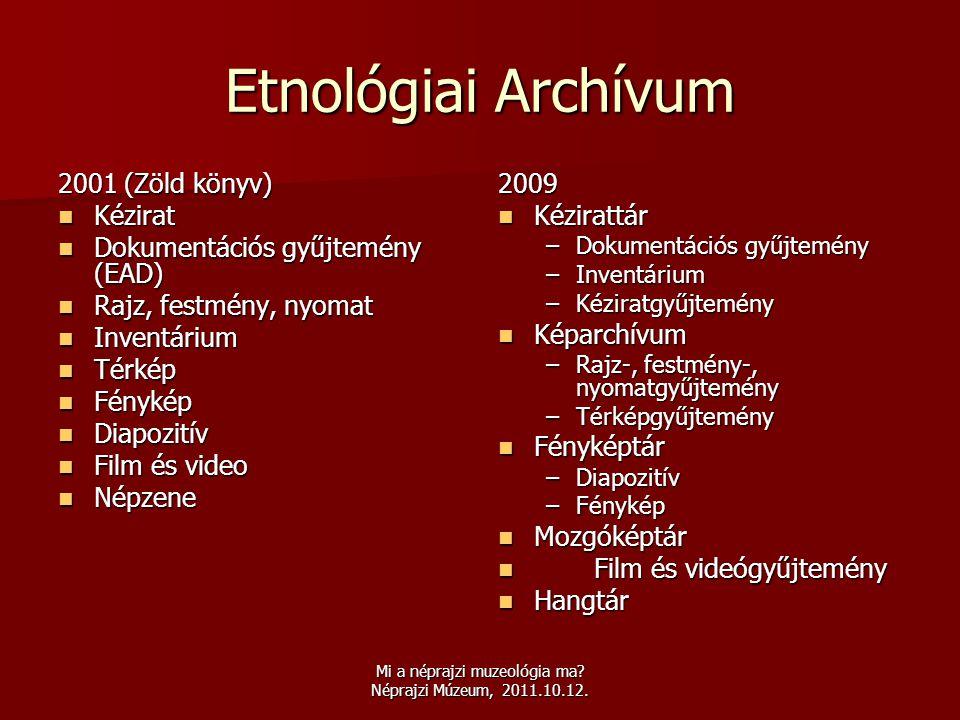 Mi a néprajzi muzeológia ma? Néprajzi Múzeum, 2011.10.12. Etnológiai Archívum 2001 (Zöld könyv)  Kézirat  Dokumentációs gyűjtemény (EAD)  Rajz, fes