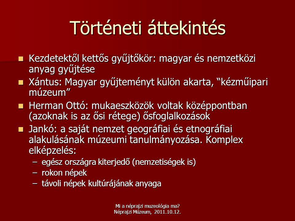 Mi a néprajzi muzeológia ma? Néprajzi Múzeum, 2011.10.12. Történeti áttekintés  Kezdetektől kettős gyűjtőkör: magyar és nemzetközi anyag gyűjtése  X