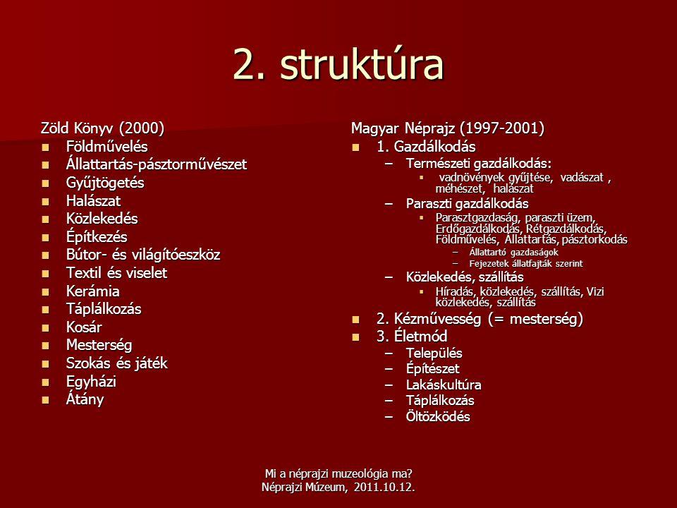 Mi a néprajzi muzeológia ma? Néprajzi Múzeum, 2011.10.12. 2. struktúra Zöld Könyv (2000)  Földművelés  Állattartás-pásztorművészet  Gyűjtögetés  H