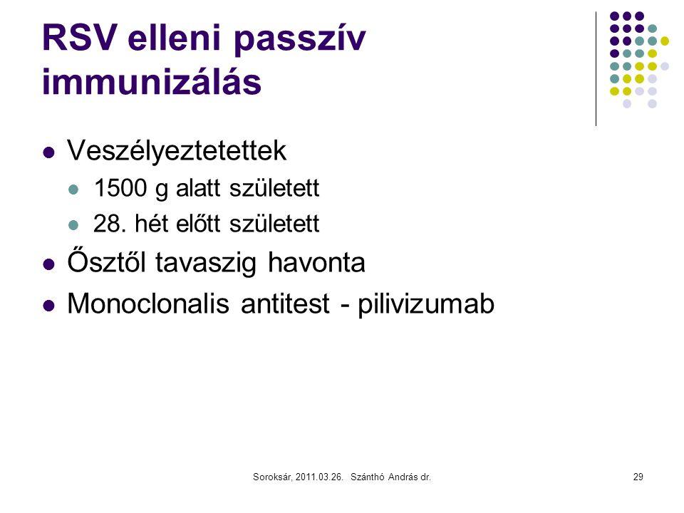 Soroksár, 2011.03.26. Szánthó András dr.29 RSV elleni passzív immunizálás  Veszélyeztetettek  1500 g alatt született  28. hét előtt született  Ősz