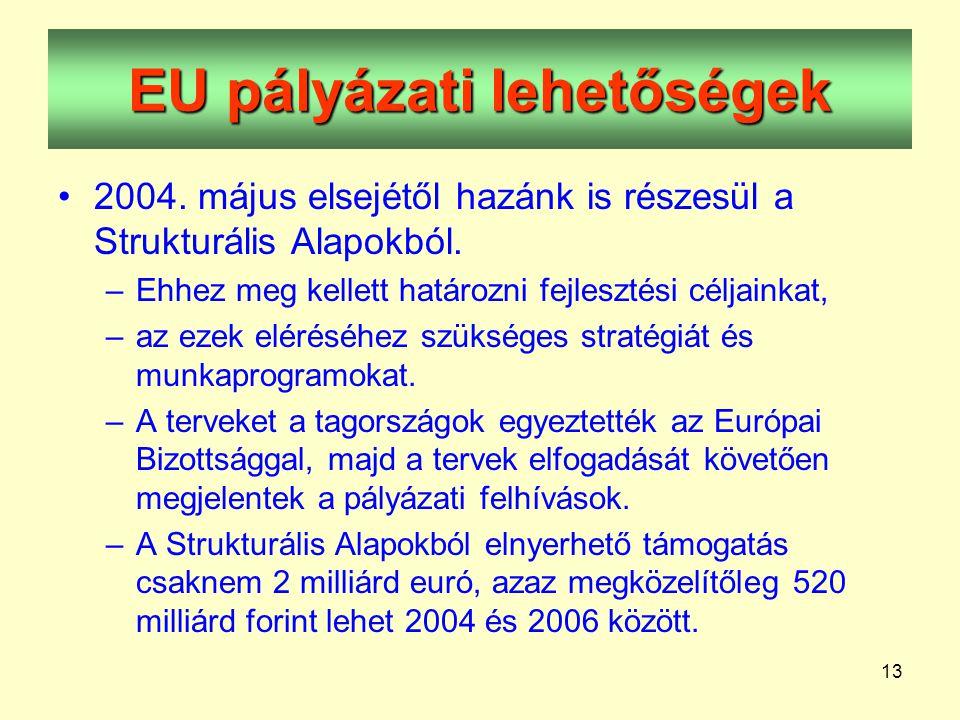 13 EU pályázati lehetőségek •2004. május elsejétől hazánk is részesül a Strukturális Alapokból.