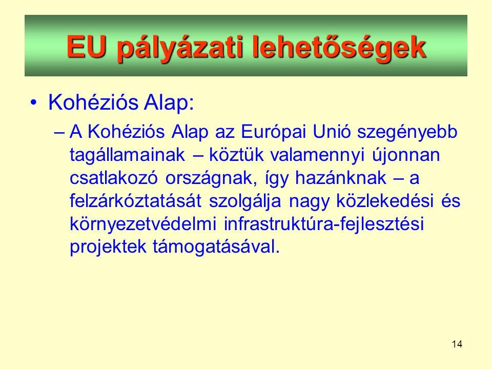 14 EU pályázati lehetőségek •Kohéziós Alap: –A Kohéziós Alap az Európai Unió szegényebb tagállamainak – köztük valamennyi újonnan csatlakozó országnak, így hazánknak – a felzárkóztatását szolgálja nagy közlekedési és környezetvédelmi infrastruktúra-fejlesztési projektek támogatásával.