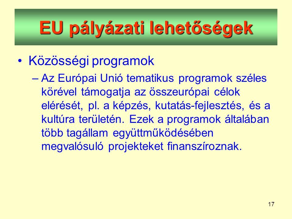 17 EU pályázati lehetőségek •Közösségi programok –Az Európai Unió tematikus programok széles körével támogatja az összeurópai célok elérését, pl.