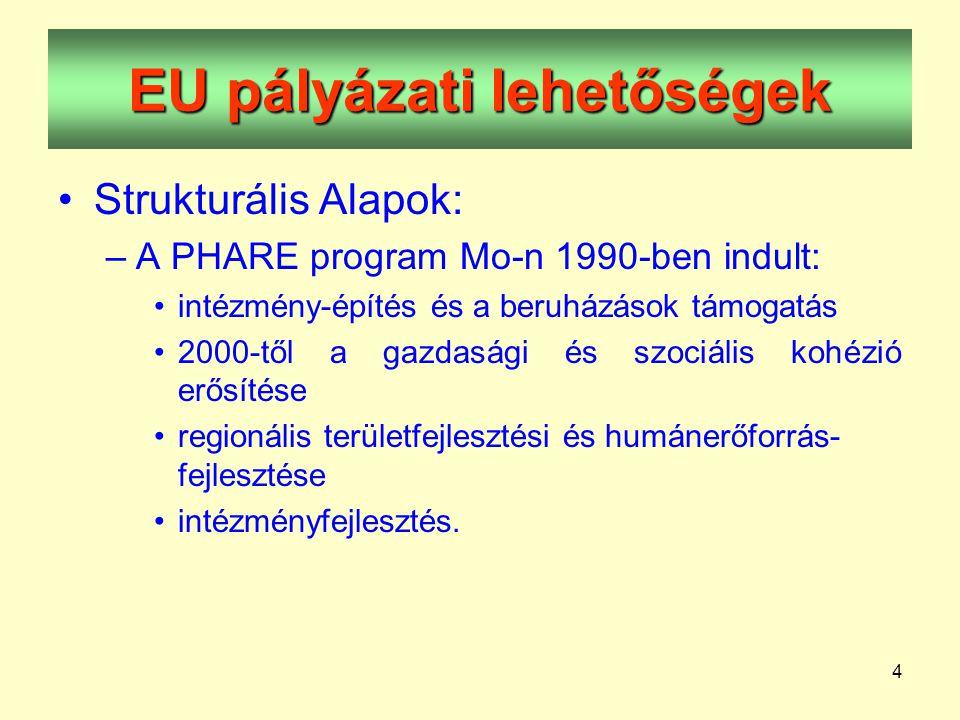 4 EU pályázati lehetőségek •Strukturális Alapok: –A PHARE program Mo-n 1990-ben indult: •intézmény-építés és a beruházások támogatás •2000-től a gazdasági és szociális kohézió erősítése •regionális területfejlesztési és humánerőforrás- fejlesztése •intézményfejlesztés.