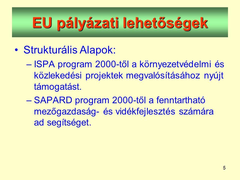 5 EU pályázati lehetőségek •Strukturális Alapok: –ISPA program 2000-től a környezetvédelmi és közlekedési projektek megvalósításához nyújt támogatást.