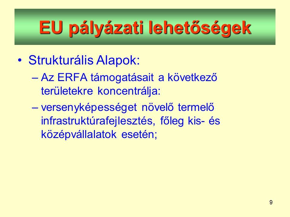 9 EU pályázati lehetőségek •Strukturális Alapok: –Az ERFA támogatásait a következő területekre koncentrálja: –versenyképességet növelő termelő infrastruktúrafejlesztés, főleg kis- és középvállalatok esetén;