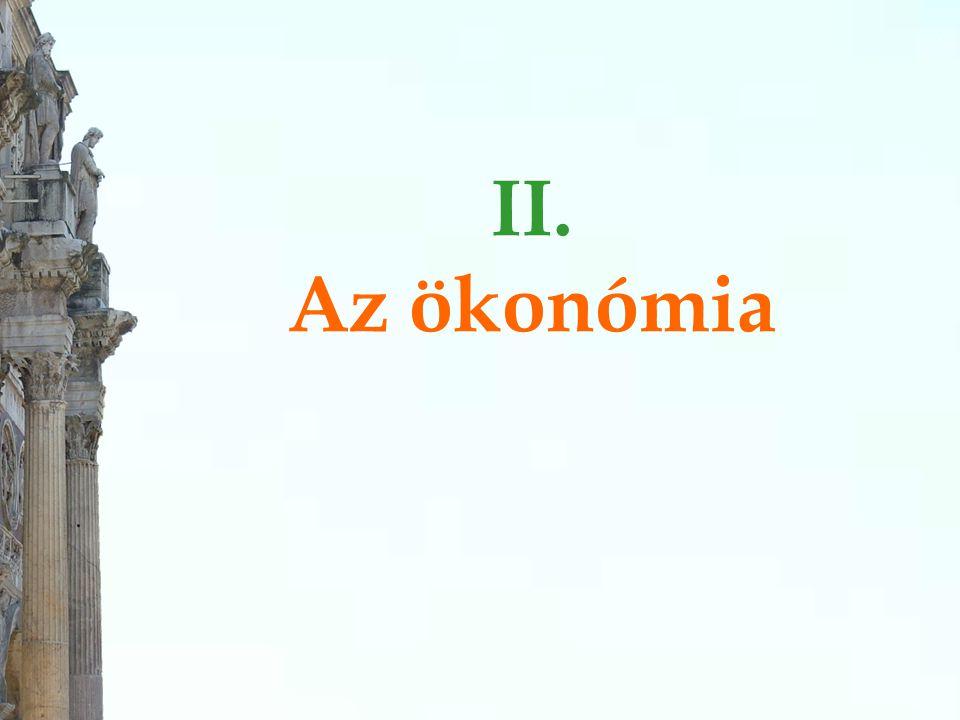 """Ökonómia = Háztartástan  A görög """"oikosz (ház) és """"némein (elosztani, megosztani, legeltetni, használni, élvezni, elrendezni, igazgatni) szavak összetételéből származik, és eredetileg a háztartás és birtok, valamint a (város)állam adminisztrációjának anyagi ügyeiről szóló vitára utalt."""