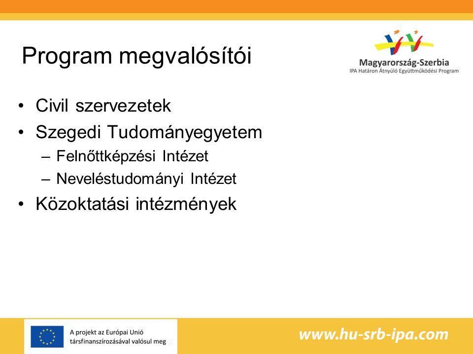 Program megvalósítói •Civil szervezetek •Szegedi Tudományegyetem –Felnőttképzési Intézet –Neveléstudományi Intézet •Közoktatási intézmények