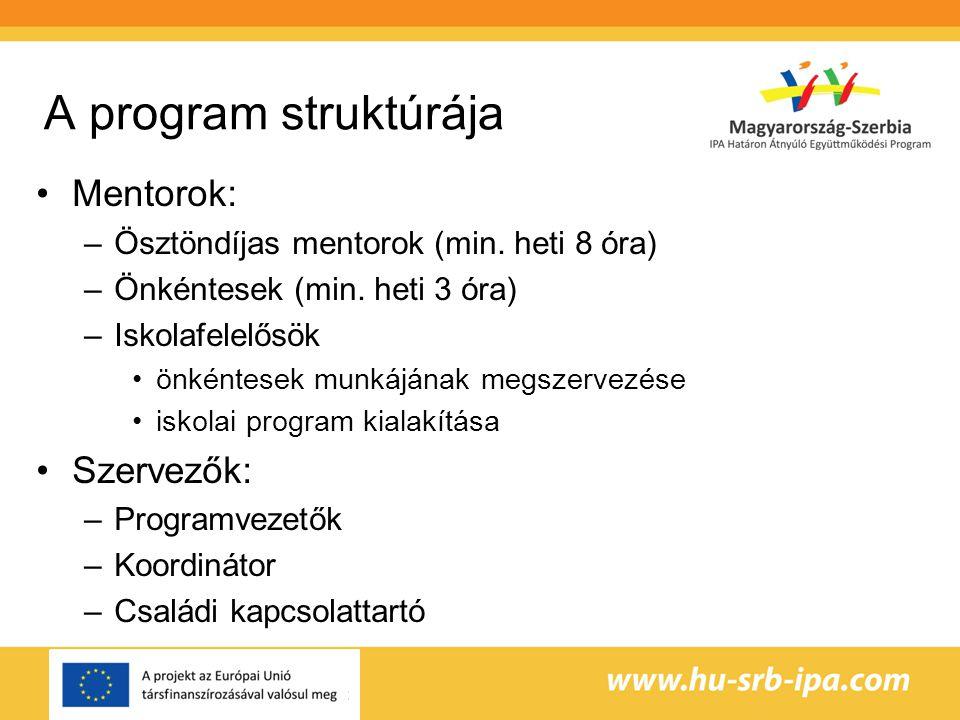 A program struktúrája •Mentorok: –Ösztöndíjas mentorok (min.