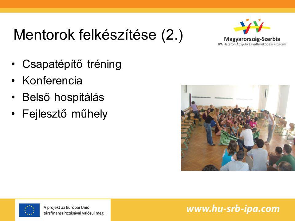 Mentorok felkészítése (2.) •Csapatépítő tréning •Konferencia •Belső hospitálás •Fejlesztő műhely