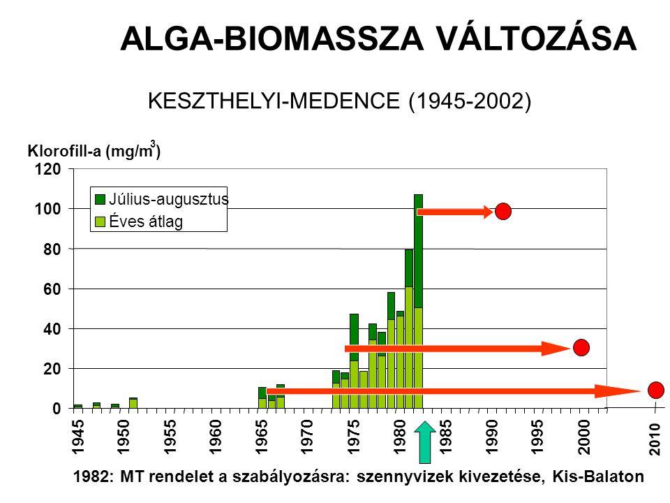 0 20 40 60 80 100 120 194519501955196019651970197519801985199019952000 Július-augusztus Éves átlag Klorofill-a (mg/m 3 ) ALGA-BIOMASSZA VÁLTOZÁSA KESZTHELYI-MEDENCE (1945-2002) 2010 1982: MT rendelet a szabályozásra: szennyvizek kivezetése, Kis-Balaton