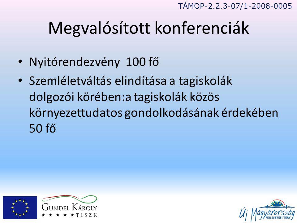 Megvalósított konferenciák • Nyitórendezvény 100 fő • Szemléletváltás elindítása a tagiskolák dolgozói körében:a tagiskolák közös környezettudatos gondolkodásának érdekében 50 fő TÁMOP-2.2.3-07/1-2008-0005