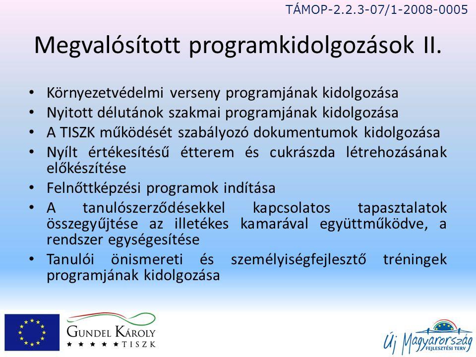 Megvalósított programkidolgozások II.