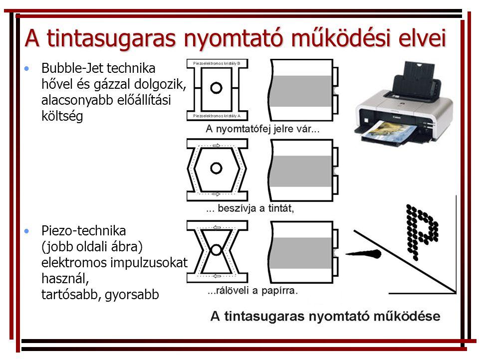 A tintasugaras nyomtató működési elvei •Bubble-Jet technika hővel és gázzal dolgozik, alacsonyabb előállítási költség •Piezo-technika (jobb oldali ábra) elektromos impulzusokat használ, tartósabb, gyorsabb