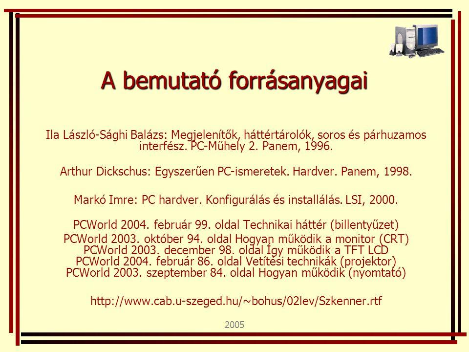 2005 A bemutató forrásanyagai Ila László-Sághi Balázs: Megjelenítők, háttértárolók, soros és párhuzamos interfész. PC-Műhely 2. Panem, 1996. Arthur Di