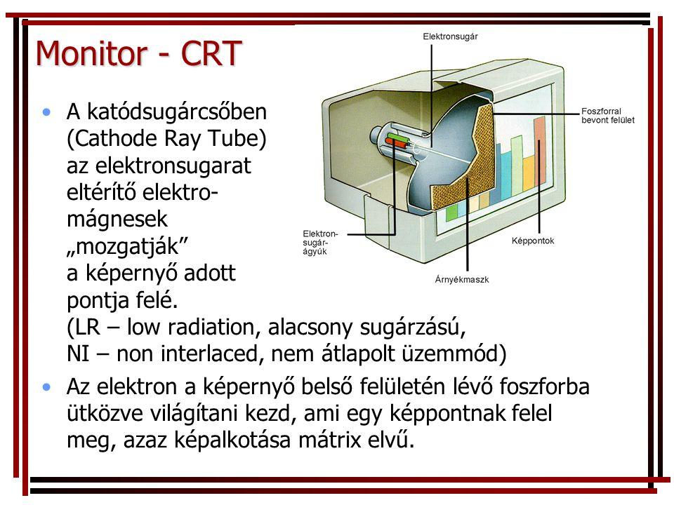 """Monitor - CRT •A katódsugárcsőben (Cathode Ray Tube) az elektronsugarat eltérítő elektro- mágnesek """"mozgatják a képernyő adott pontja felé."""