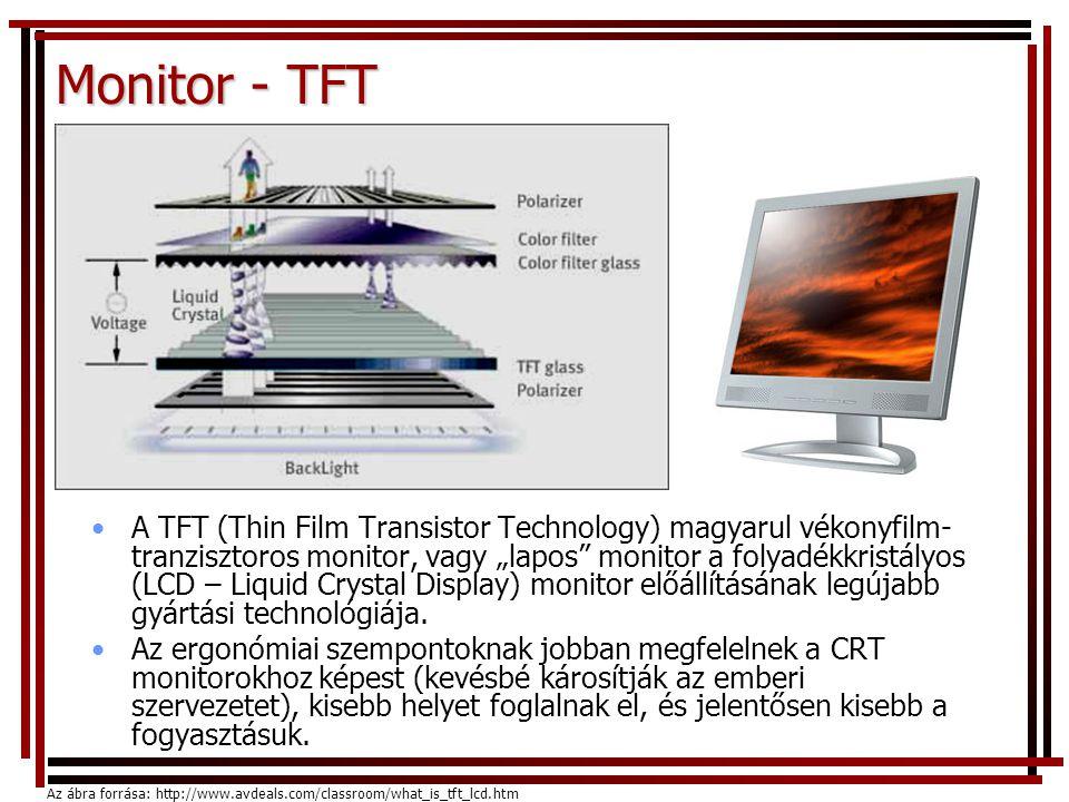 "Monitor - TFT •A TFT (Thin Film Transistor Technology) magyarul vékonyfilm- tranzisztoros monitor, vagy ""lapos"" monitor a folyadékkristályos (LCD – Li"