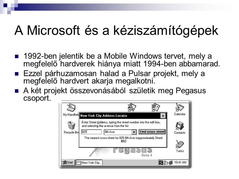 A Microsoft és a kéziszámítógépek  1992-ben jelentik be a Mobile Windows tervet, mely a megfelelő hardverek hiánya miatt 1994-ben abbamarad.
