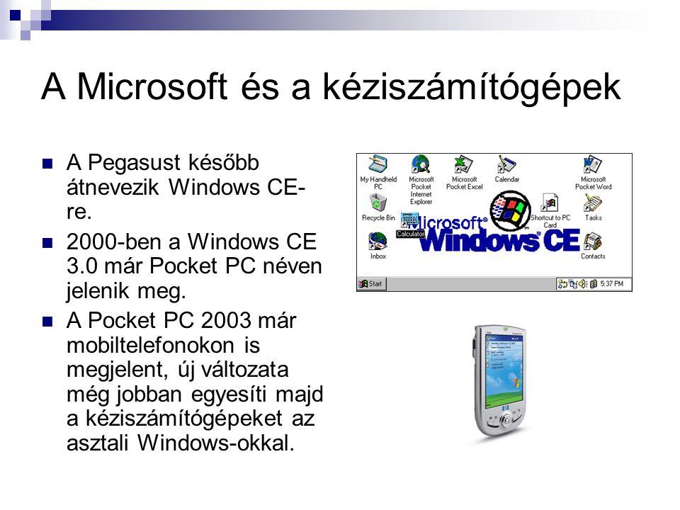 A Microsoft és a kéziszámítógépek  A Pegasust később átnevezik Windows CE- re.
