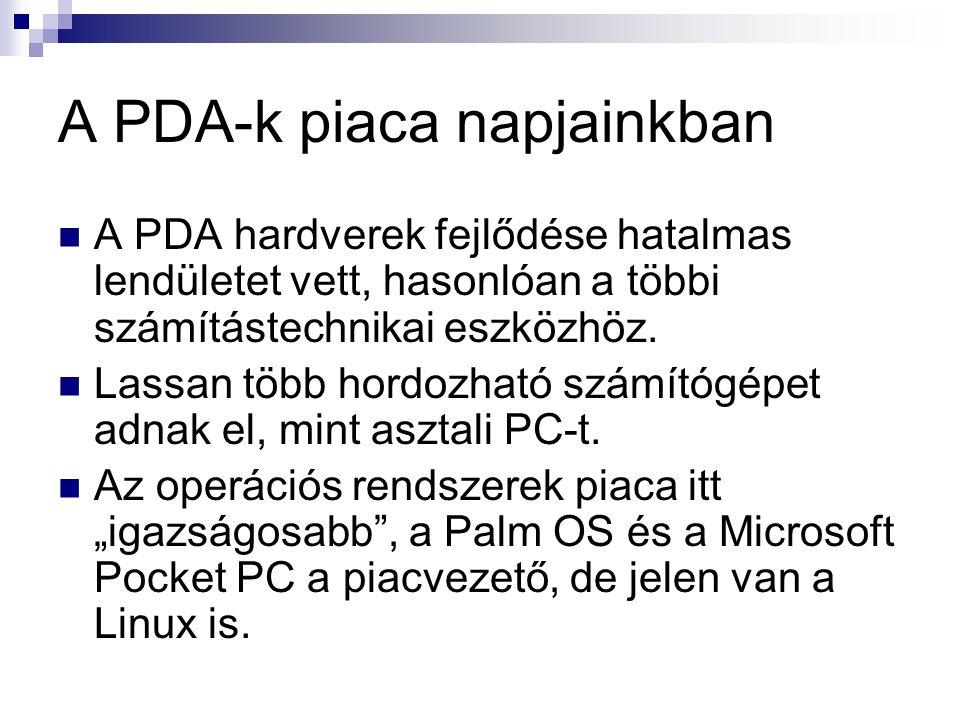 A PDA-k piaca napjainkban  A PDA hardverek fejlődése hatalmas lendületet vett, hasonlóan a többi számítástechnikai eszközhöz.