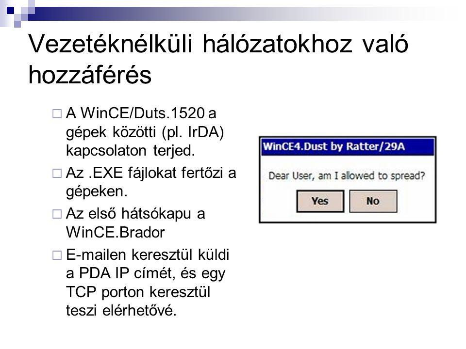 Vezetéknélküli hálózatokhoz való hozzáférés  A WinCE/Duts.1520 a gépek közötti (pl.