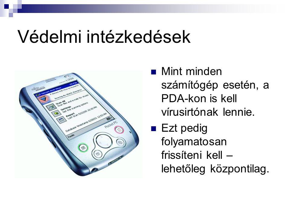 Védelmi intézkedések  Mint minden számítógép esetén, a PDA-kon is kell vírusirtónak lennie.