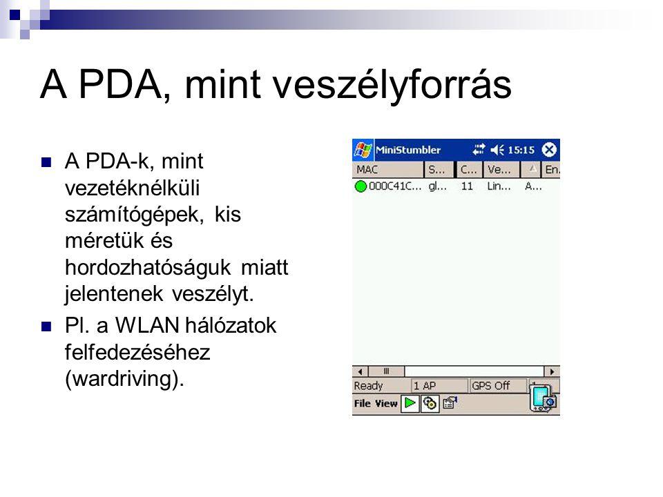 A PDA, mint veszélyforrás  A PDA-k, mint vezetéknélküli számítógépek, kis méretük és hordozhatóságuk miatt jelentenek veszélyt.
