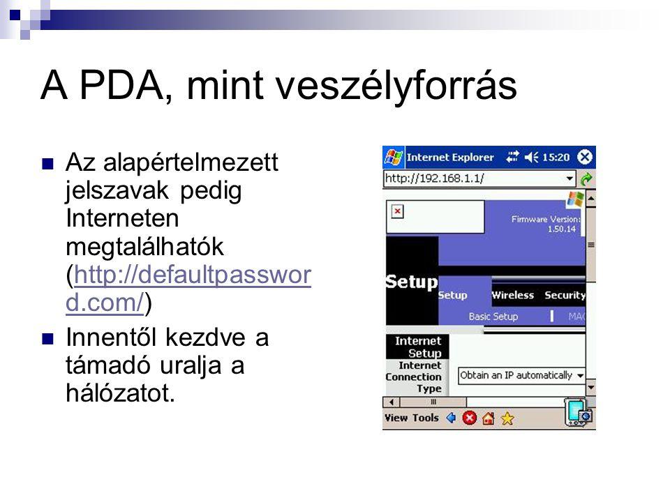 A PDA, mint veszélyforrás  Az alapértelmezett jelszavak pedig Interneten megtalálhatók (http://defaultpasswor d.com/)http://defaultpasswor d.com/  Innentől kezdve a támadó uralja a hálózatot.