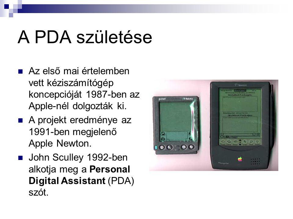 A PDA születése  Az első mai értelemben vett kéziszámítógép koncepcióját 1987-ben az Apple-nél dolgozták ki.