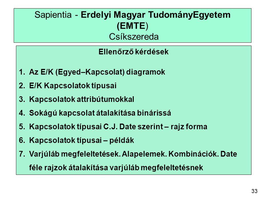 33 Sapientia - Erdelyi Magyar TudományEgyetem (EMTE) Csíkszereda Ellenőrző kérdések 1.Az E/K (Egyed–Kapcsolat) diagramok 2.E/K Kapcsolatok típusai 3.Kapcsolatok attribútumokkal 4.Sokágú kapcsolat átalakítása binárissá 5.Kapcsolatok típusai C.J.