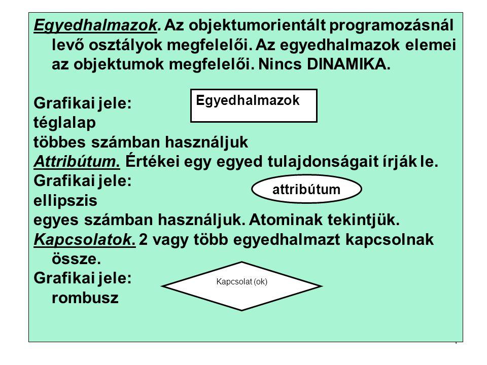 4 Egyedhalmazok. Az objektumorientált programozásnál levő osztályok megfelelői.