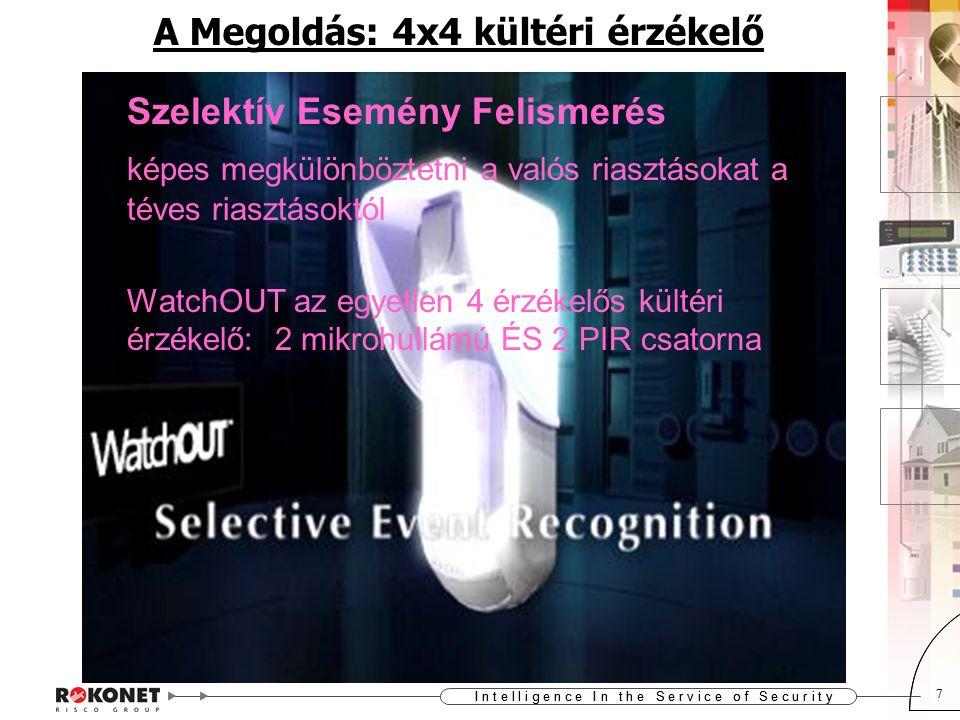 I n t e l l i g e n c e I n t h e S e r v i c e o f S e c u r i t y 7 7 A Megoldás: 4x4 kültéri érzékelő Szelektív Esemény Felismerés képes megkülönböztetni a valós riasztásokat a téves riasztásoktól WatchOUT az egyetlen 4 érzékelős kültéri érzékelő: 2 mikrohullámú ÉS 2 PIR csatorna