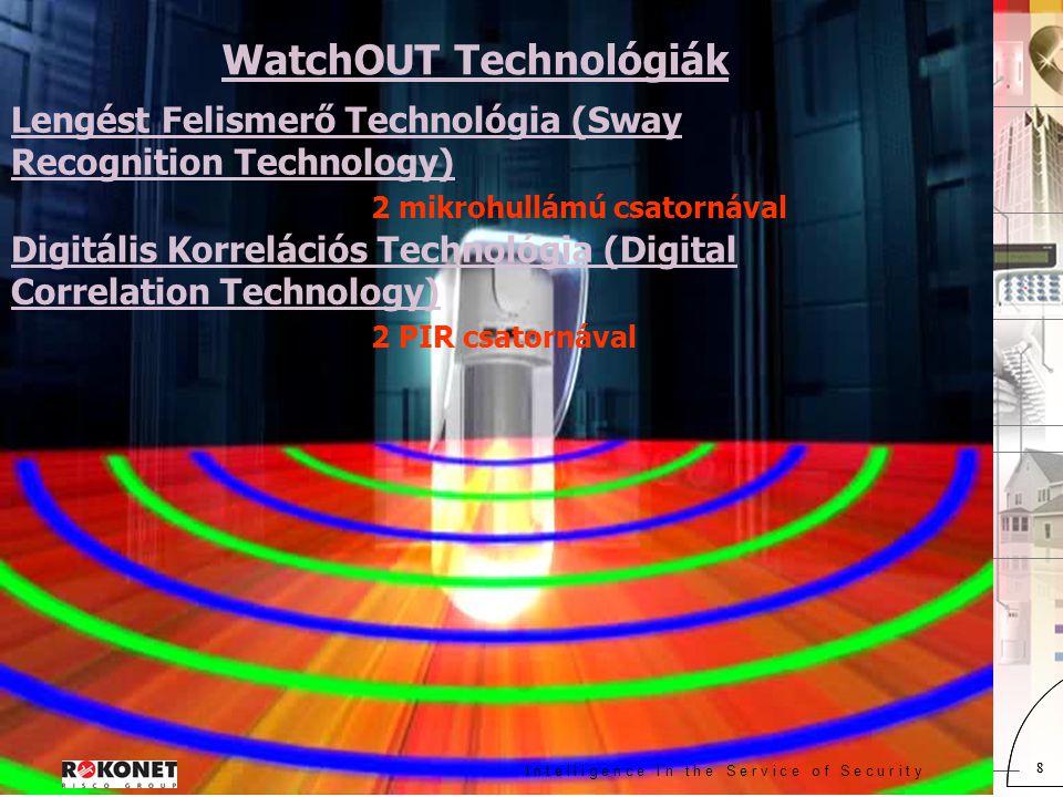I n t e l l i g e n c e I n t h e S e r v i c e o f S e c u r i t y 8 8 WatchOUT Technológiák Lengést Felismerő Technológia (Sway Recognition Technology) 2 mikrohullámú csatornával Digitális Korrelációs Technológia (Digital Correlation Technology) 2 PIR csatornával