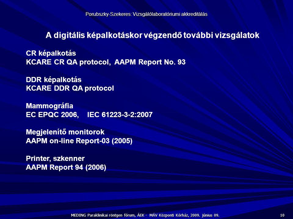 10 MEDING Paraklinikai röntgen fórum, ÁEK - MÁV Központi Kórház, 2009. június 09. Porubszky-Szekeres: Vizsgálólaboratóriumi akkreditálás A digitális k
