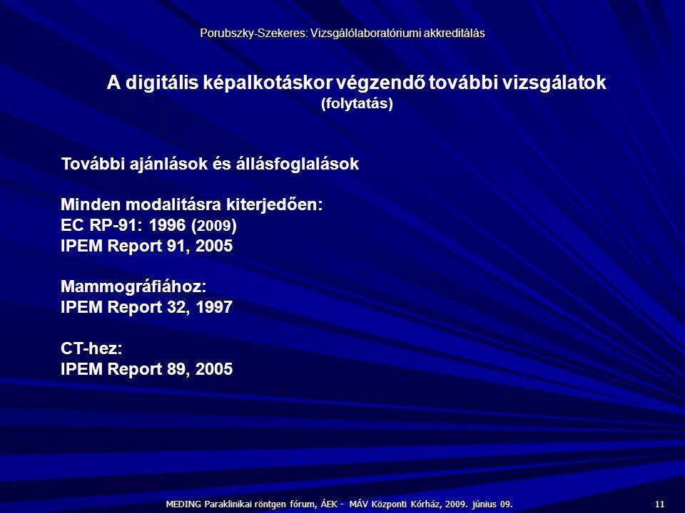 11 MEDING Paraklinikai röntgen fórum, ÁEK - MÁV Központi Kórház, 2009. június 09. Porubszky-Szekeres: Vizsgálólaboratóriumi akkreditálás A digitális k