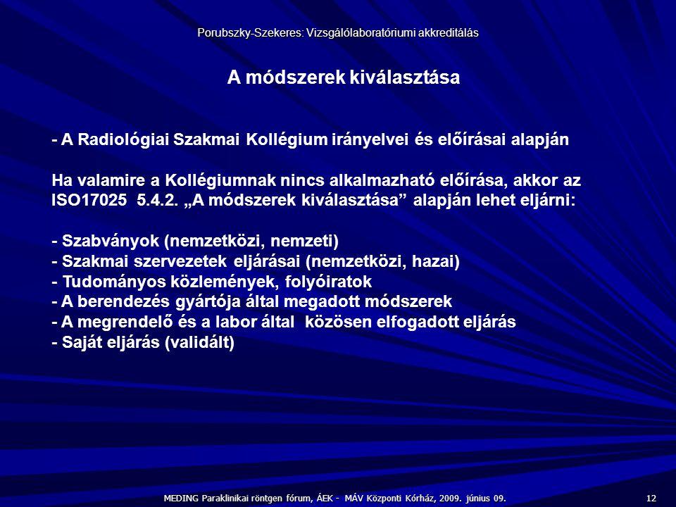 12 MEDING Paraklinikai röntgen fórum, ÁEK - MÁV Központi Kórház, 2009. június 09. Porubszky-Szekeres: Vizsgálólaboratóriumi akkreditálás A módszerek k