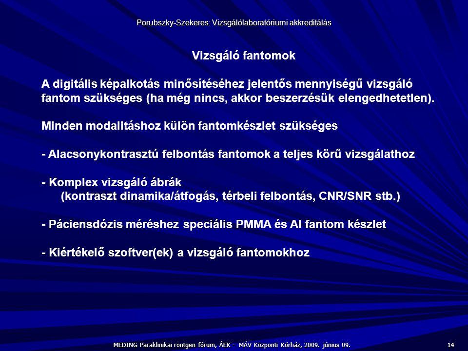14 MEDING Paraklinikai röntgen fórum, ÁEK - MÁV Központi Kórház, 2009. június 09. Porubszky-Szekeres: Vizsgálólaboratóriumi akkreditálás Vizsgáló fant